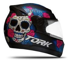 Capacete Moto Feminino Pro Tork 788 Evolution G7 Caveira Mexicana Preto C/ Selo Inmetro