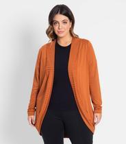 Cardigan Plus Size Feminino Secret Glam Marrom