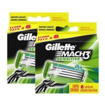 Carga aparelho barbear gillette mach3 sensitive 16 unidades