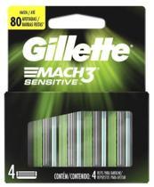 Carga Gillette Mach 3 Sensitive - Refil com 4 Unidades