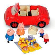 Carro vermelho peppa pig - veículo peppa pig- família pig -acessórios piquenique