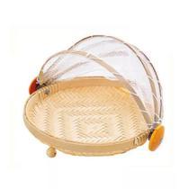 Cesto Porta Pão e Bolo Bambu com Cobertura Retrátil - P