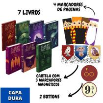 Coleção Harry potter Capa Dura (7 livros) - J.K Rowling (Acompanha: marcadores + bottons)
