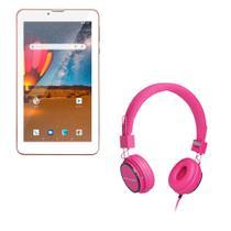 Combo High Tech - Tablet M7 3G Plus Dual Chip 1 Gb De Ram 16 Gb Tela 7 Pol. Rosa E Fone De Ouvido Com Mic Rosa P2 Multilaser - NB305K