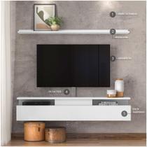 Combo Papel de parede e Rack com Suporte TV até 80 polegadas Dj Móveis
