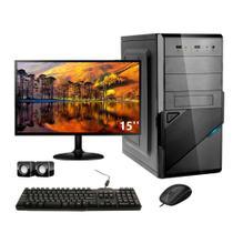 "Computador Corporate I3 8 Gb de Ram Hd 500 Gb Monitor 15"" Kit Multimídia"