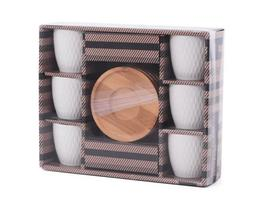 Conjunto 6 Xicaras Porcelana 6 Pires Bambu Kit Xicaras