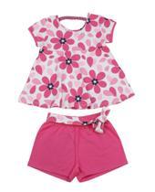 Conjunto Blusa Flores e Shorts Moletom Kyly