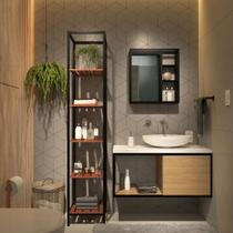 Conjunto Completo Kit Estante Espelheira Gabinete Para Banheiro Sublime Preto Com Cobre Industrial