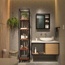 Conjunto Completo Kit Estante Espelheira Gabinete Para Banheiro Sublime Preto Industrial Com Madeira