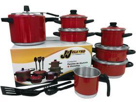 Conjunto de Panelas Caçarola e Panela de Pressão Alumínio 10 peças Vermelha
