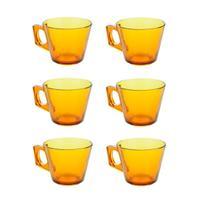 Conjunto de Xícaras de Vidro Ambar Elegance Kit 6 Peças 220ml Jogo - Wincy