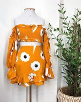 Conjunto feminino cropped e saia floral manga longa inspiração farm