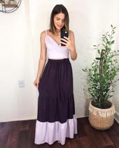 Conjunto feminino cropped e saia longa bicolor