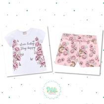Conjunto Menina Milon Blusa Cotton Short Moletom Leve