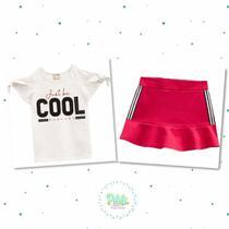 Conjunto Menina Milon Blusa em Cotton Short-Saia Moletom s/ Felpa