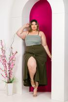 Conjunto Plus Size Cropped de Renda Saia Longa Roupa Feminina