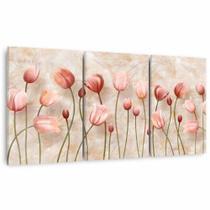 Conjunto Quadro decorativo Flores Tulipas Artístico Design Mármore Para Sala Quarto em Canvas Framez