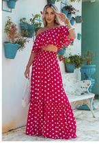 Conjunto Saia Longa e Cropped Ciganinha Bolinhas Sob Rosa e Branco
