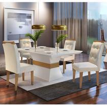 Conjunto Sala de Jantar Mesa 4 Cadeiras Luísa Espresso  Móveis Veludo Creme/Off White/Imbuia