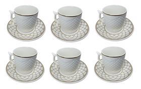 Conjunto Xícara Café com Pires Porcelana Kit 6 Peças 90ml Wincy