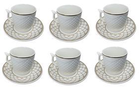 Conjunto Xícara Café com Pires Porcelana Kit 6 Peças 90ml - Wincy