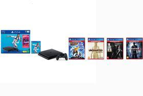 Console Playstation 4 1TB Bundle Fifa 19 + 4 Jogos Hits + Controle Dualshock 4 Preto - PS4