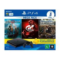 Console PlayStation 4 Slim 1TB Bundle 12 + Gran Turismo Sport + God of War + Days Gone + 3 Meses Playstation Plus