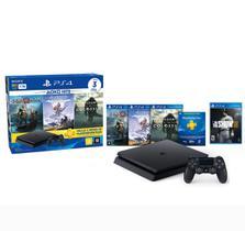 Console Playstation 4 Slim 1TB Hits Bundle + 4 Jogos + 1 Controle Dualshock 4 Preto - PS4