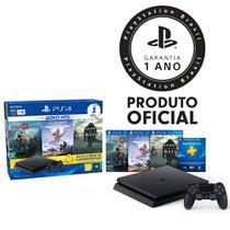Console Playstation 4 Slim 1TB Hits Bundle 4ª Geração + 3 Jogos + Controle Dualshock 4 Preto - PS4