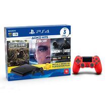 Console Playstation 4 Slim 1TB Hits Bundle v5 + Controle Dualshock 4 Vermelho - PS4