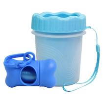 Copo Limpa Patas Limpeza Pet Azul Com Cata Caca e Refil