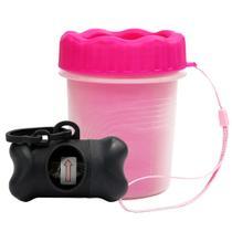 Copo Limpa Patas Limpeza Pet Rosa Com Cata Caca e Refil
