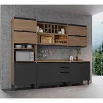 Cozinha Compacta Thela Hibisco 3 Peças Aveiro/Grafite