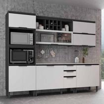 Cozinha Compacta Thela Hibisco 3 Peças P/ Forno e Micro Grafite/Branco