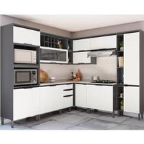 Cozinha Completa de Canto Thela Hibisco 8 Peças Grafite/Branco