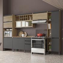 Cozinha Completa Thela Hibisco 10 Portas 3 Gavetas Aveiro/grafite - Telasul