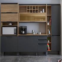 Cozinha Completa Thela Hibisco 4 Peças Paneleiro Com USB Aveiro/Grafite