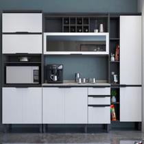 Cozinha Completa Thela Hibisco 4 Peças Paneleiro Com USB Grafite/Branco