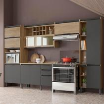 Cozinha Completa Thela Hibisco 5 Peças Paneleiro Com USB Aveiro/Grafite