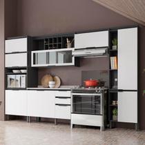 Cozinha Completa Thela Hibisco 5 Peças Paneleiro Com USB Grafite/Branco