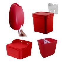 Dispenser Detergente Porta Sacolas Saleiro Lixeira 2,5 L Kit