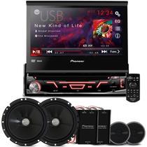 """DVD Player Pioneer AVH-3880 1 Din + Kit 2 Vias Pioneer 6"""" + 2 Tweeters + 2 Crossovers 120W RMS"""