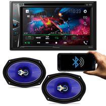 DVD Player Pioneer AVH-G218BT 2 Din 6.2 Polegadas Bluetooth USB Aux + Par Alto Falantes Shutt 6x9
