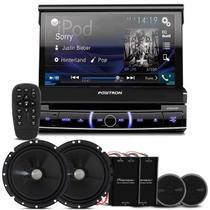 "DVD Player Pósitron SP6320 BT 1 Din 7"" + Kit 2 Vias Pioneer 6"" 120W RMS"