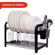 Escorredor 16 pratos Inox Preto com Porta Talheres