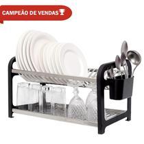 Escorredor 20 pratos Inox Preto com Porta Talheres