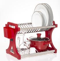 Escorredor De Pratos Alto Vermelho Inox 16 Pratos