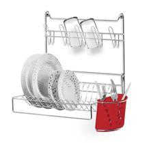 Escorredor de Pratos Dobrável para Parede Porta Copo E Talhe Vermelho N393-5