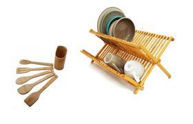 Escorredor De Pratos Retrátil Madeira Bambu E Utensílios Colheres Com Suporte